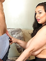 Huge breasted Hairy MILF fucking and sucking